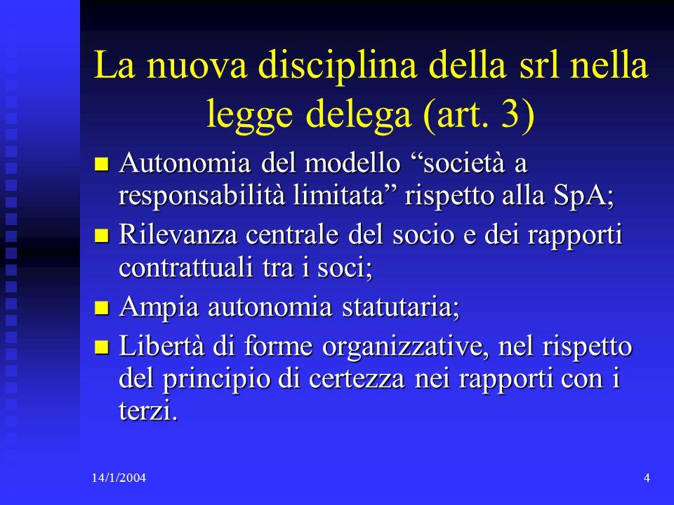 14/1/200445 I controlli nella disciplina delle SpA La legge delega impone, per la SpA, un assetto organizzativo che promuova l'efficienza e la correttezza della gestione (art.