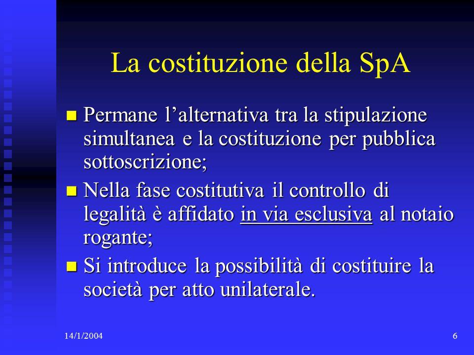 14/1/200417 Il trasferimento della partecipazione e l'art.