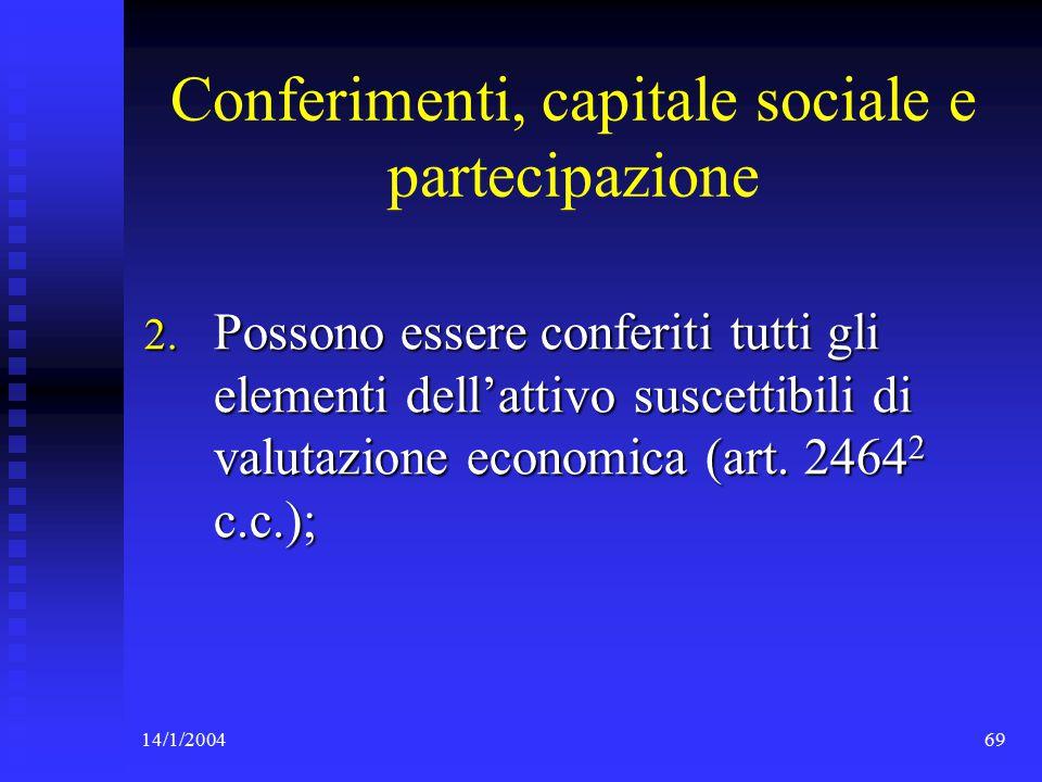 14/1/200469 Conferimenti, capitale sociale e partecipazione 2.