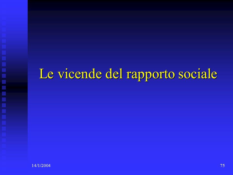 14/1/200475 Le vicende del rapporto sociale