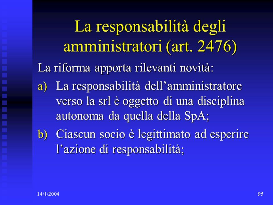 14/1/200495 La responsabilità degli amministratori (art.