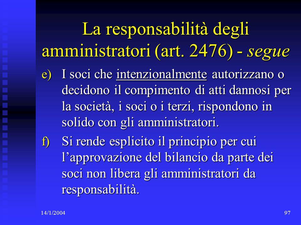 14/1/200497 La responsabilità degli amministratori (art.