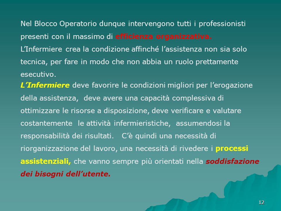 1212 Nel Blocco Operatorio dunque intervengono tutti i professionisti presenti con il massimo di efficienza organizzativa. L'Infermiere crea la condiz