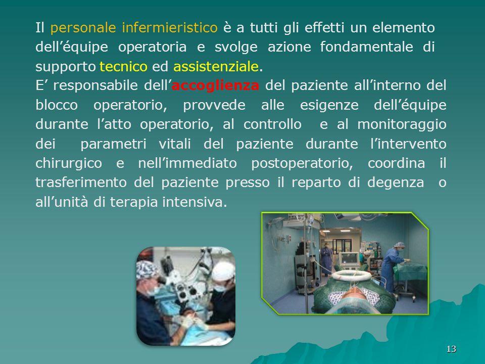 1313 E' responsabile dell'accoglienza del paziente all'interno del blocco operatorio, provvede alle esigenze dell'équipe durante l'atto operatorio, al