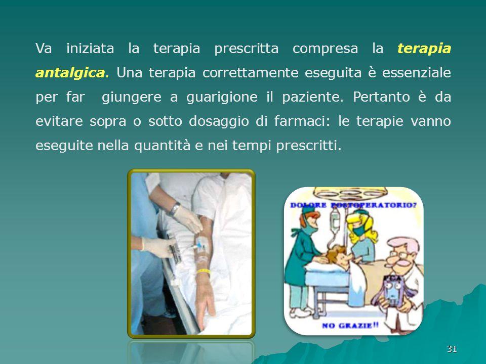 3131 Va iniziata la terapia prescritta compresa la terapia antalgica. Una terapia correttamente eseguita è essenziale per far giungere a guarigione il