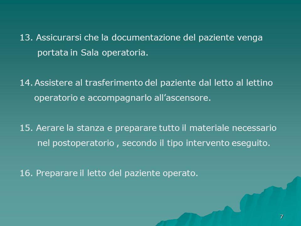 77 13. Assicurarsi che la documentazione del paziente venga portata in Sala operatoria. 14.Assistere al trasferimento del paziente dal letto al lettin