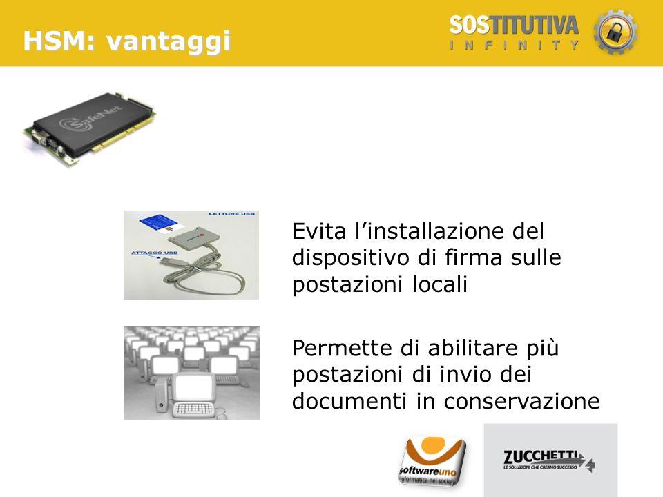 HSM: vantaggi Evita l'installazione del dispositivo di firma sulle postazioni locali Permette di abilitare più postazioni di invio dei documenti in co