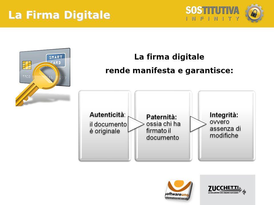 La Firma Digitale La firma digitale rende manifesta e garantisce: