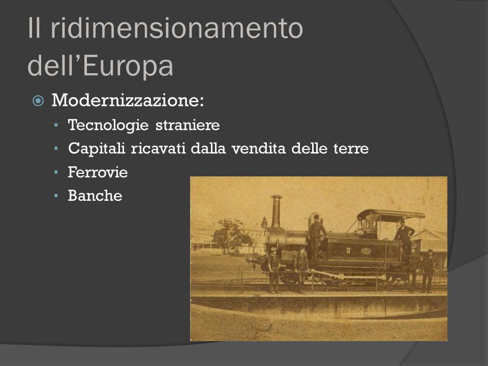 Il ridimensionamento dell'Europa  Modernizzazione: Tecnologie straniere Capitali ricavati dalla vendita delle terre Ferrovie Banche