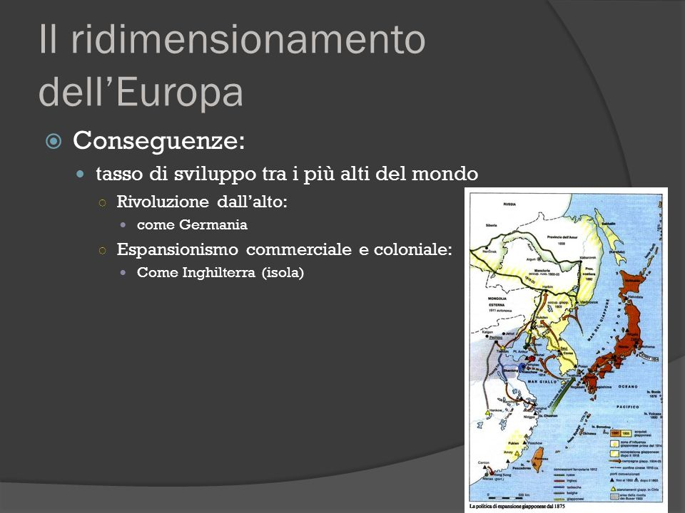 Il ridimensionamento dell'Europa  Conseguenze: tasso di sviluppo tra i più alti del mondo ○ Rivoluzione dall'alto: come Germania ○ Espansionismo comm