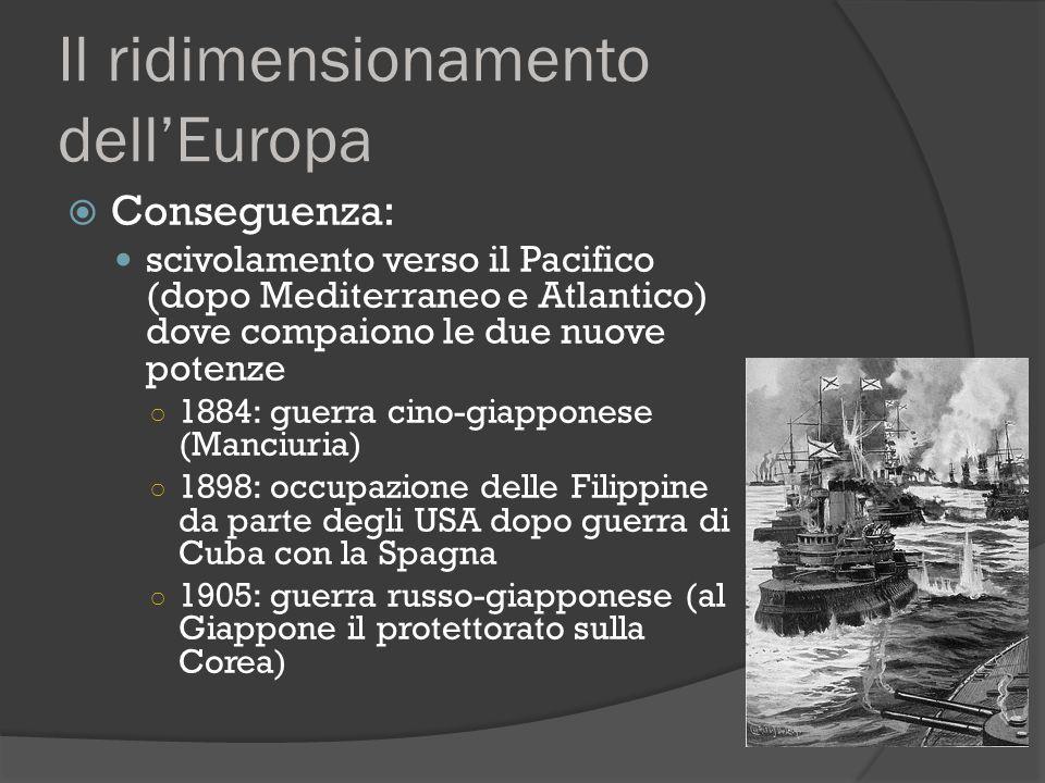 Il ridimensionamento dell'Europa  Conseguenza: scivolamento verso il Pacifico (dopo Mediterraneo e Atlantico) dove compaiono le due nuove potenze ○ 1