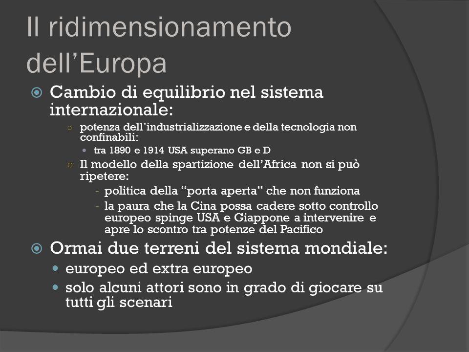Il ridimensionamento dell'Europa  Cambio di equilibrio nel sistema internazionale: ○ potenza dell'industrializzazione e della tecnologia non confinab