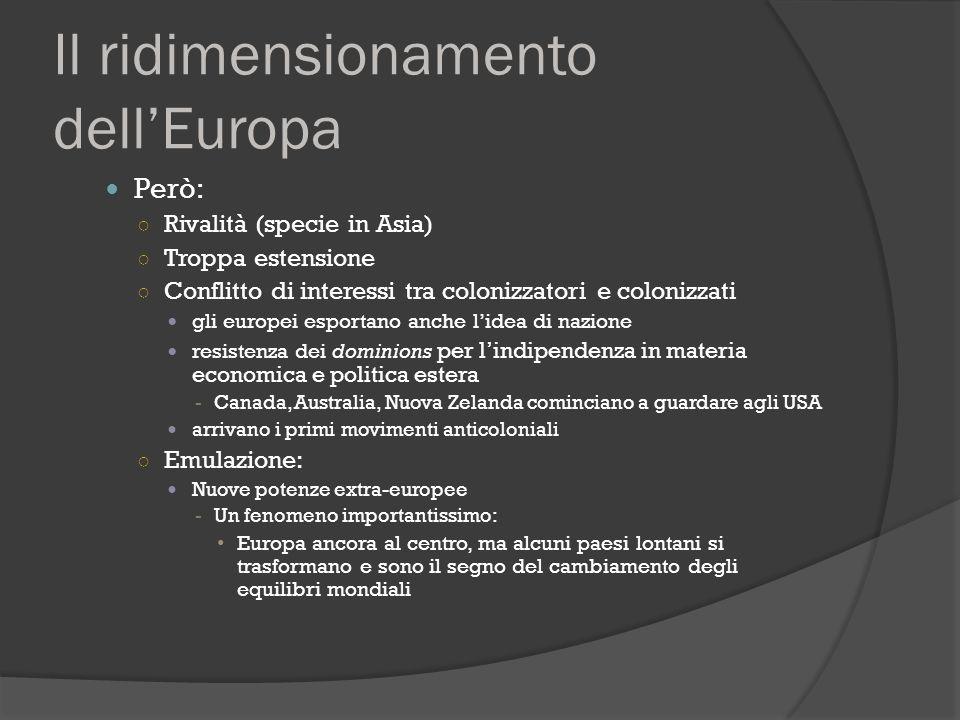 Il ridimensionamento dell'Europa Però: ○ Rivalità (specie in Asia) ○ Troppa estensione ○ Conflitto di interessi tra colonizzatori e colonizzati gli eu