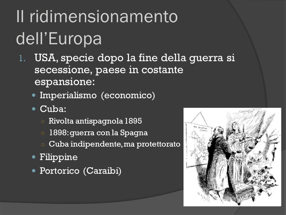 Il ridimensionamento dell'Europa 1. USA, specie dopo la fine della guerra si secessione, paese in costante espansione: Imperialismo (economico) Cuba: