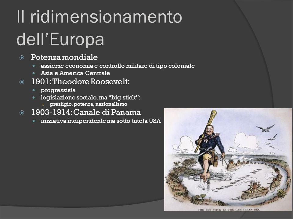 Il ridimensionamento dell'Europa  Potenza mondiale assieme economia e controllo militare di tipo coloniale Asia e America Centrale  1901: Theodore R