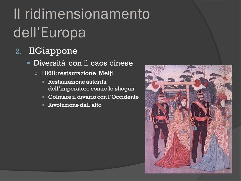 Il ridimensionamento dell'Europa 2. IlGiappone Diversità con il caos cinese ○ 1868: restaurazione Meiji Restaurazione autorità dell'imperatore contro