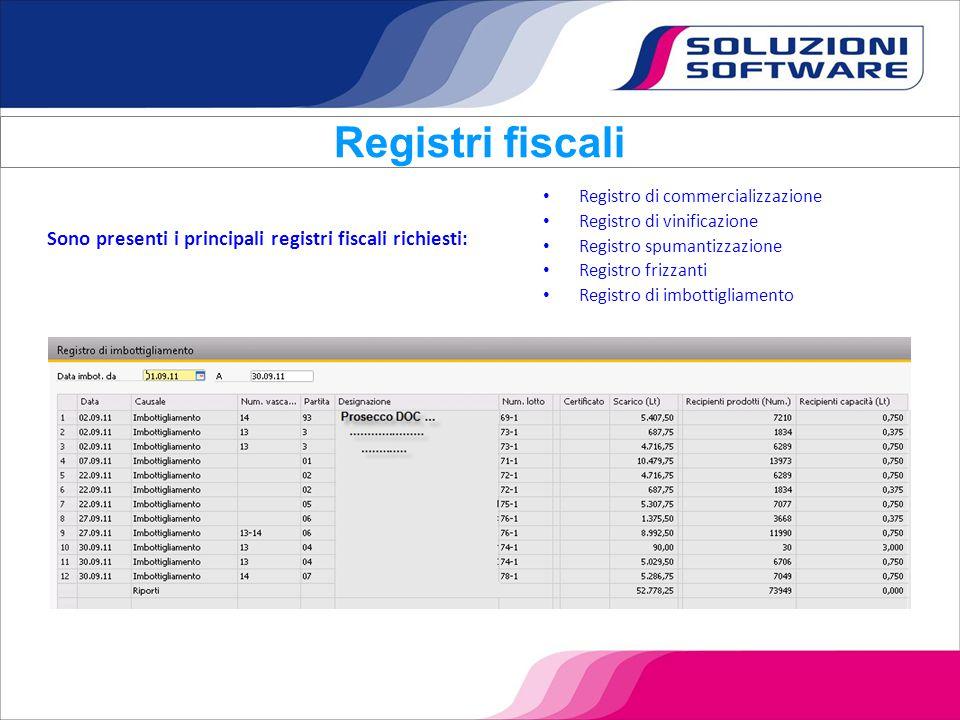 Registro di commercializzazione Registro di vinificazione Registro spumantizzazione Registro frizzanti Registro di imbottigliamento Registri fiscali S