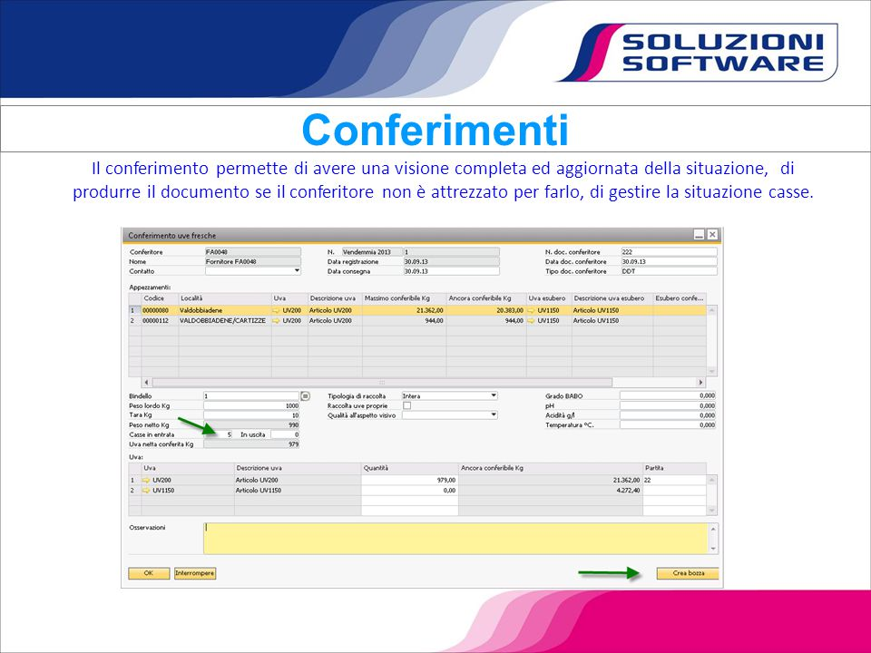 E' possibile analizzare la situazione dei conferimenti sia per conferitore che per uva che per appezzamento.
