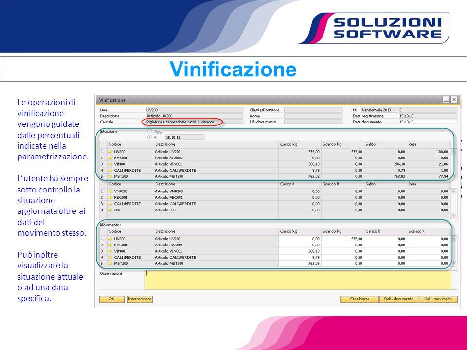 Le operazioni di vinificazione vengono guidate dalle percentuali indicate nella parametrizzazione. L'utente ha sempre sotto controllo la situazione ag