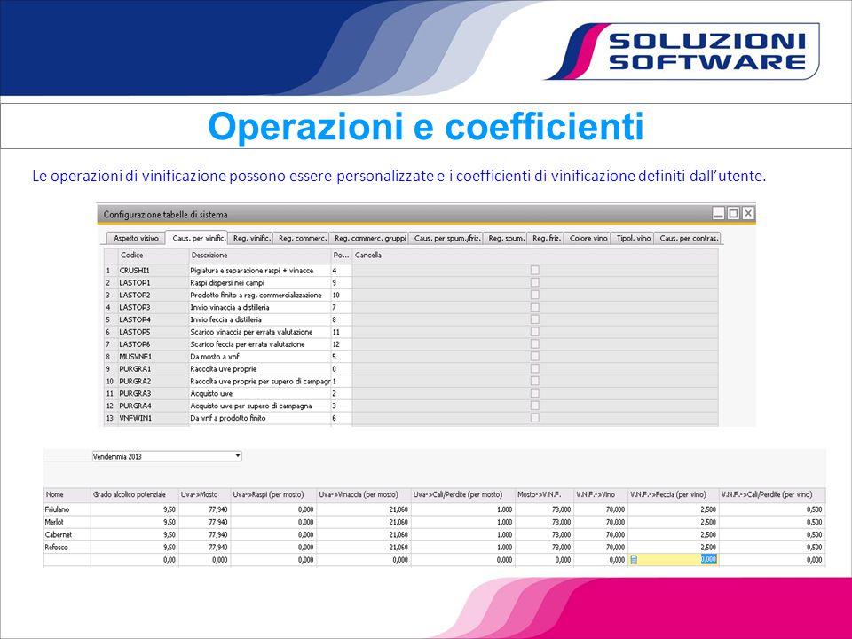Le operazioni di vinificazione possono essere personalizzate e i coefficienti di vinificazione definiti dall'utente. Operazioni e coefficienti