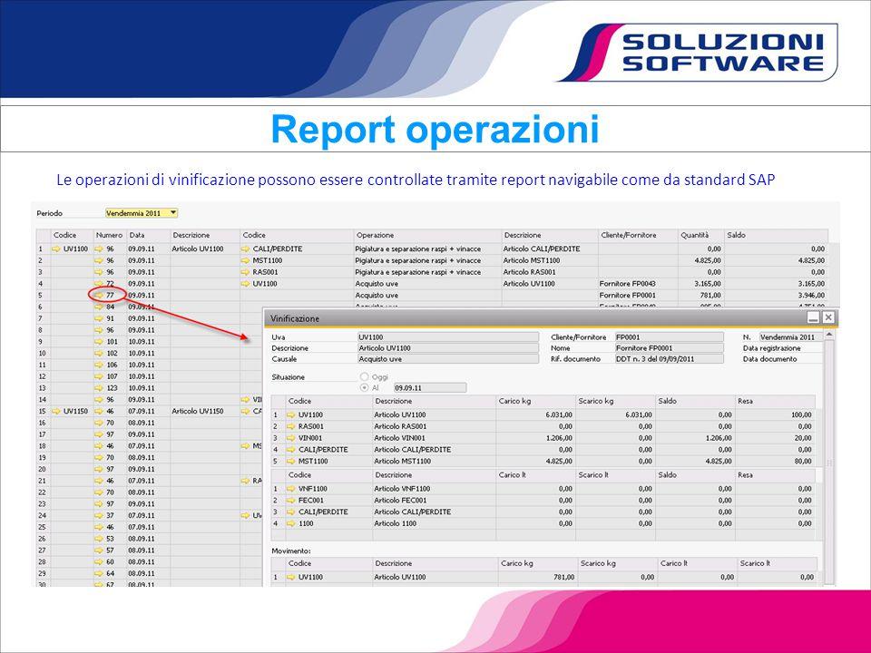 Le operazioni di vinificazione possono essere controllate tramite report navigabile come da standard SAP Report operazioni