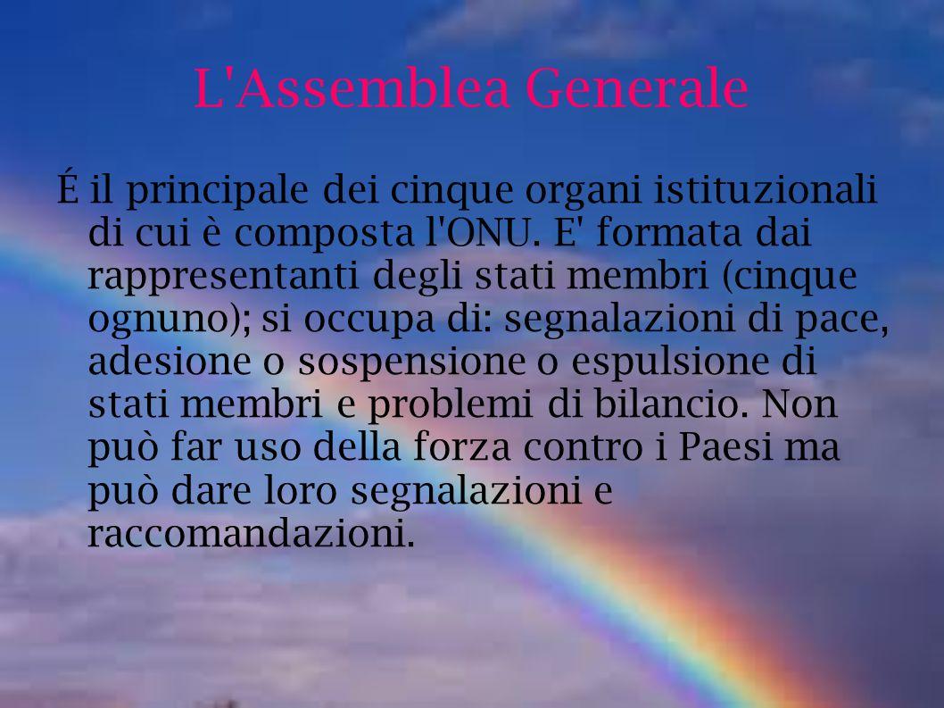 L'Assemblea Generale É il principale dei cinque organi istituzionali di cui è composta l'ONU. E' formata dai rappresentanti degli stati membri (cinque