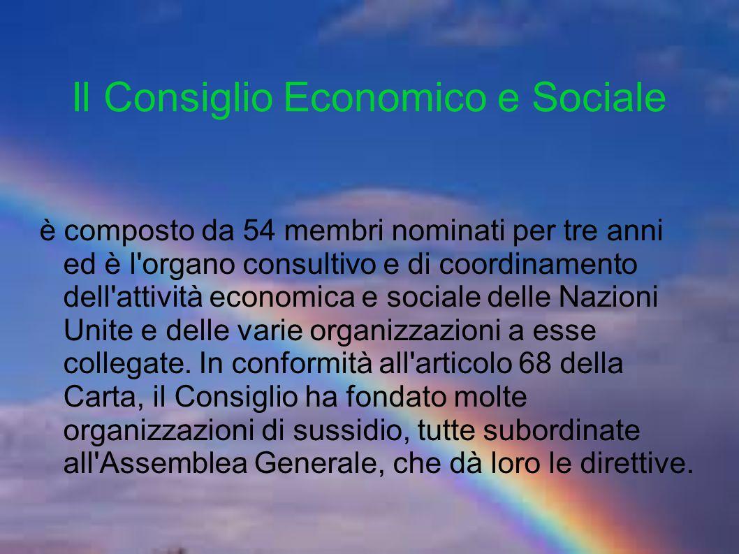 Il Consiglio Economico e Sociale è composto da 54 membri nominati per tre anni ed è l organo consultivo e di coordinamento dell attività economica e sociale delle Nazioni Unite e delle varie organizzazioni a esse collegate.