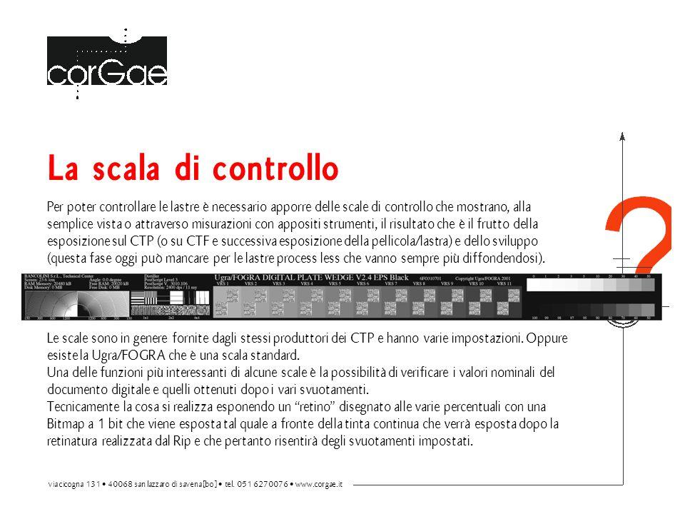 La scala di controllo Per poter controllare le lastre è necessario apporre delle scale di controllo che mostrano, alla semplice vista o attraverso mis