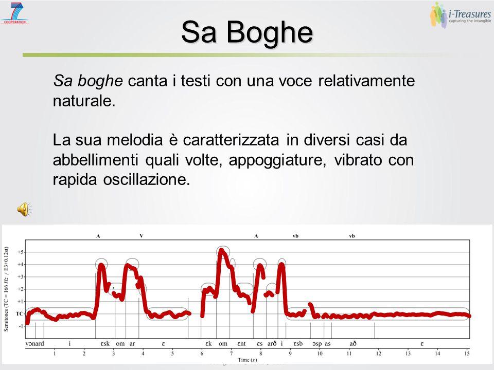 Sa Boghe   Le melodie de sa boghe di solito non oltrepassano l'estensione di una quinta, partendo dal primo grado di una scala maggiore.