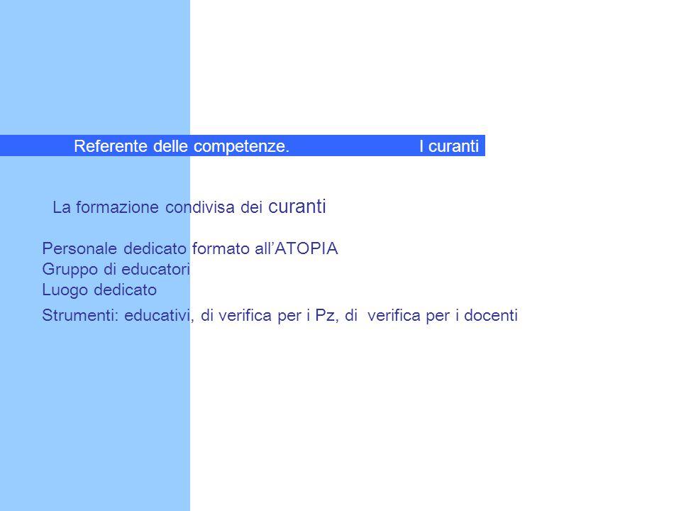 La formazione condivisa dei curanti Personale dedicato formato all'ATOPIA Gruppo di educatori Luogo dedicato Strumenti: educativi, di verifica per i P