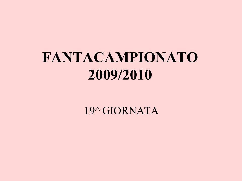 FANTACAMPIONATO 2009/2010 19^ GIORNATA