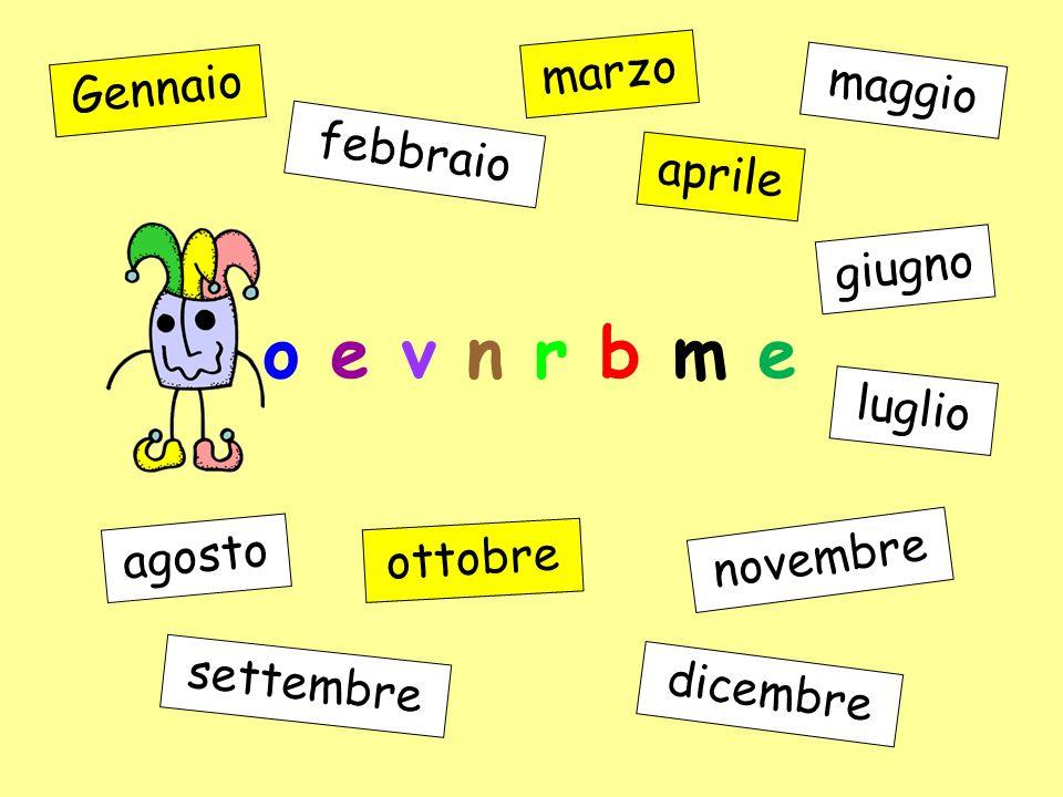 o b t r o t e Gennaio febbraio marzo aprile maggio giugno luglio agosto settembre ottobre novembre dicembre
