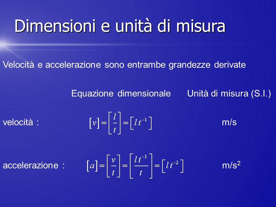 Velocità e accelerazione sono entrambe grandezze derivate Equazione dimensionale Unità di misura (S.I.) velocità : m/s accelerazione : m/s 2 Dimension
