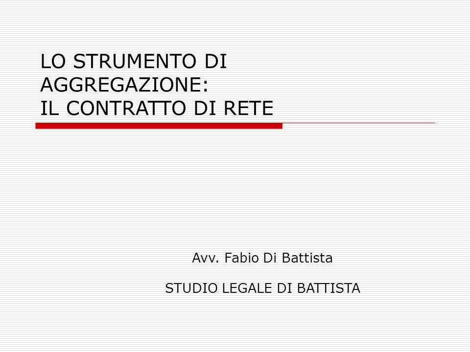 LO STRUMENTO DI AGGREGAZIONE: IL CONTRATTO DI RETE Avv. Fabio Di Battista STUDIO LEGALE DI BATTISTA