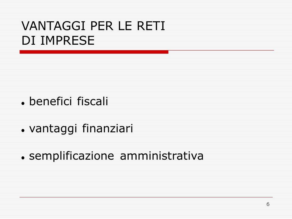 6 VANTAGGI PER LE RETI DI IMPRESE benefici fiscali vantaggi finanziari semplificazione amministrativa
