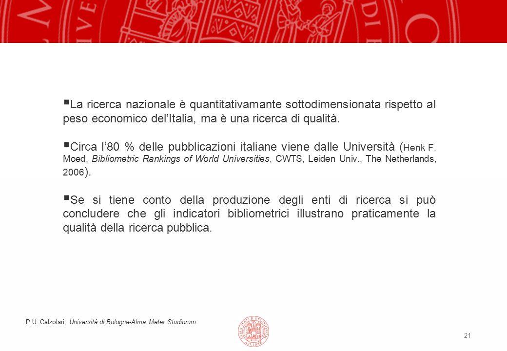 21  La ricerca nazionale è quantitativamante sottodimensionata rispetto al peso economico del'Italia, ma è una ricerca di qualità.