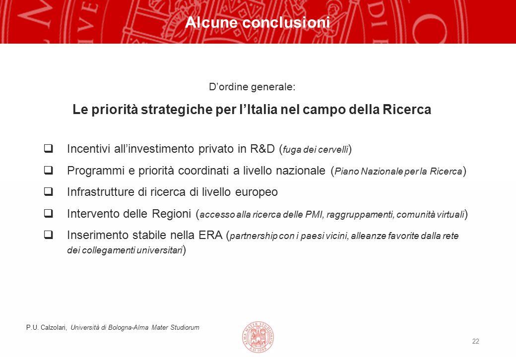 22 Alcune conclusioni D'ordine generale: Le priorità strategiche per l'Italia nel campo della Ricerca  Incentivi all'investimento privato in R&D ( fuga dei cervelli )  Programmi e priorità coordinati a livello nazionale ( Piano Nazionale per la Ricerca )  Infrastrutture di ricerca di livello europeo  Intervento delle Regioni ( accesso alla ricerca delle PMI, raggruppamenti, comunità virtuali )  Inserimento stabile nella ERA ( partnership con i paesi vicini, alleanze favorite dalla rete dei collegamenti universitari ) P.U.