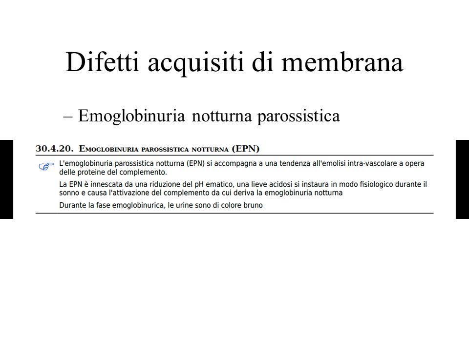 Difetti acquisiti di membrana –Emoglobinuria notturna parossistica
