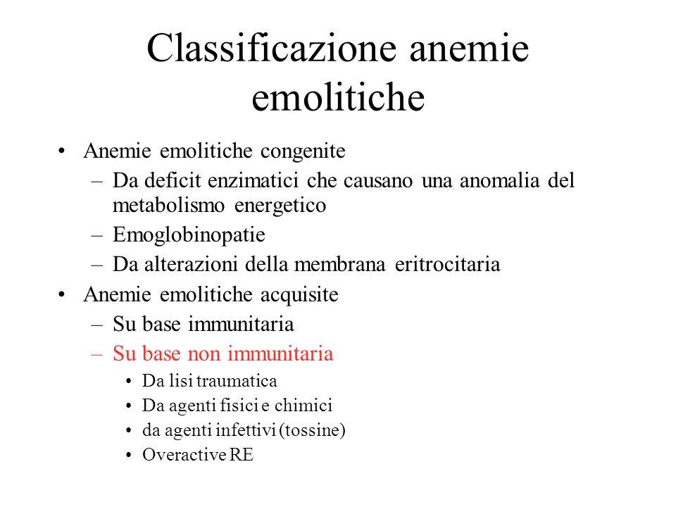 Classificazione anemie emolitiche Anemie emolitiche congenite –Da deficit enzimatici che causano una anomalia del metabolismo energetico –Emoglobinopa