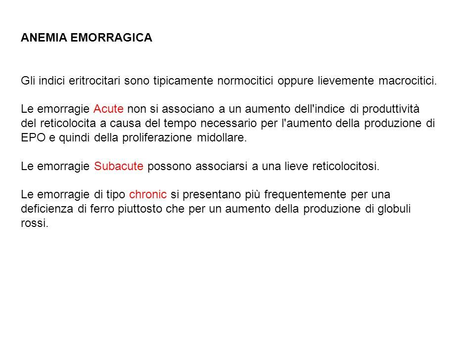 ANEMIA EMORRAGICA Gli indici eritrocitari sono tipicamente normocitici oppure lievemente macrocitici. Le emorragie Acute non si associano a un aumento