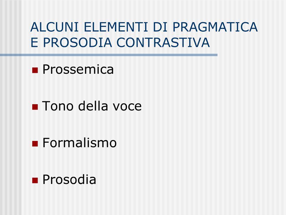 ALCUNI ELEMENTI DI PRAGMATICA E PROSODIA CONTRASTIVA Prossemica Tono della voce Formalismo Prosodia