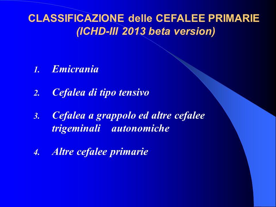 1.EMICRANIA 2.CEFALEA DI TIPO TENSIVO 3.CEFALEA A GRAPPOLO E ALTRE TACs 4.ALTRE CEFALEE PRIMARIE 5.CEFALEA ATTRIBUITA A TRAUMA CRANICO O DEL COLLO 6.C