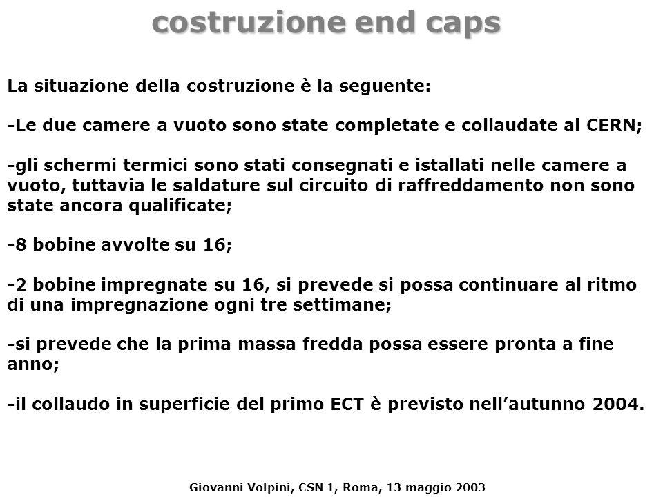 Giovanni Volpini, CSN 1, Roma, 13 maggio 2003 costruzione end caps La situazione della costruzione è la seguente: -Le due camere a vuoto sono state co