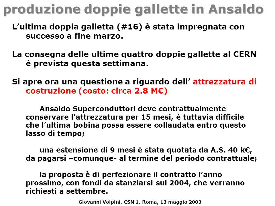 Giovanni Volpini, CSN 1, Roma, 13 maggio 2003 produzione doppie gallette in Ansaldo L'ultima doppia galletta (#16) è stata impregnata con successo a f