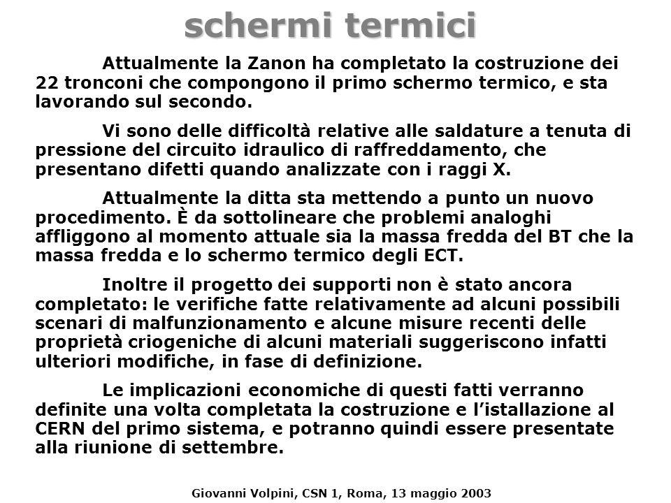 Giovanni Volpini, CSN 1, Roma, 13 maggio 2003 schermi termici Attualmente la Zanon ha completato la costruzione dei 22 tronconi che compongono il prim