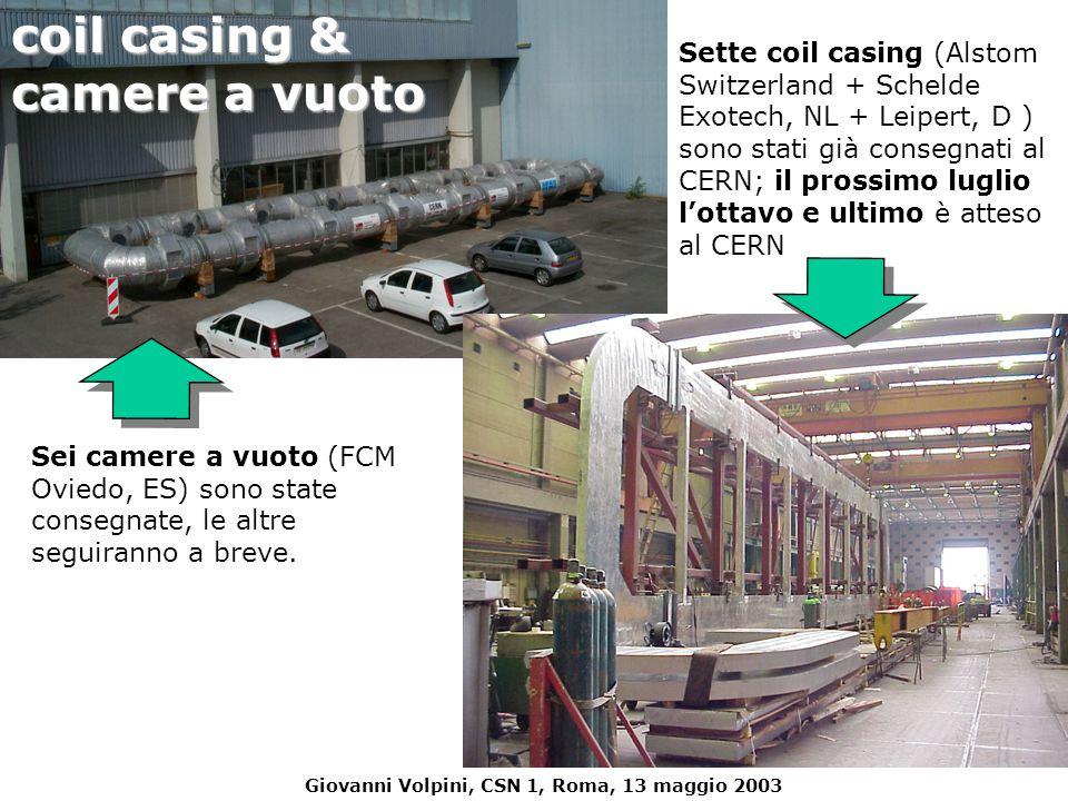 Giovanni Volpini, CSN 1, Roma, 13 maggio 2003 Sette coil casing (Alstom Switzerland + Schelde Exotech, NL + Leipert, D ) sono stati già consegnati al