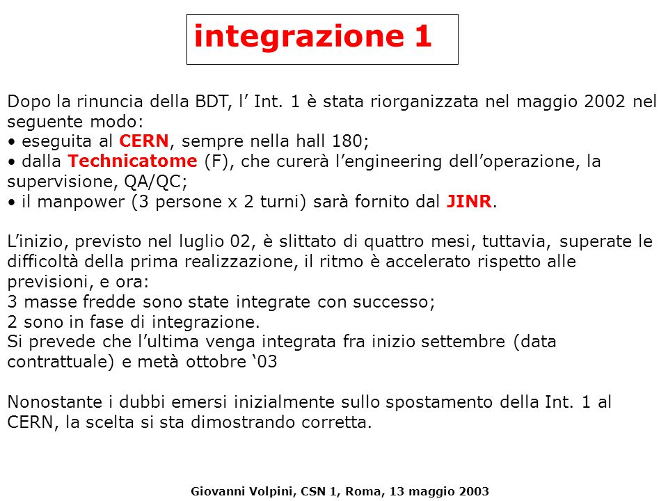 Giovanni Volpini, CSN 1, Roma, 13 maggio 2003 Dopo la rinuncia della BDT, l' Int. 1 è stata riorganizzata nel maggio 2002 nel seguente modo: eseguita