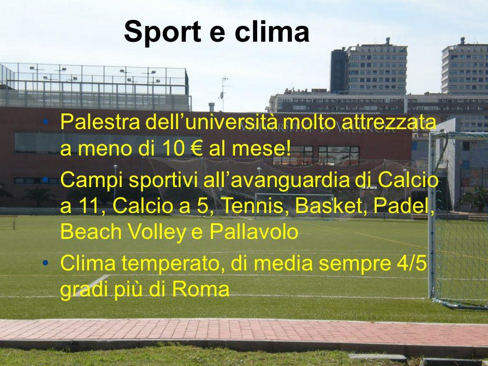 Sport e clima Palestra dell'università molto attrezzata a meno di 10 € al mese! Campi sportivi all'avanguardia di Calcio a 11, Calcio a 5, Tennis, Bas