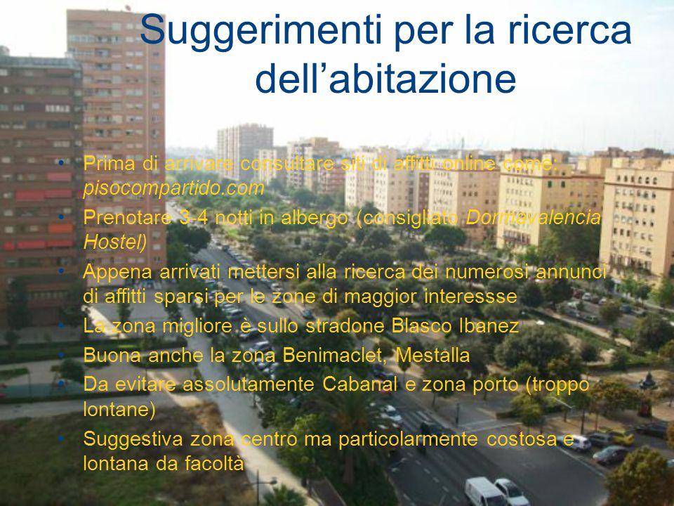 Suggerimenti per la ricerca dell'abitazione Prima di arrivare consultare siti di affitti online come: pisocompartido.com Prenotare 3-4 notti in alberg
