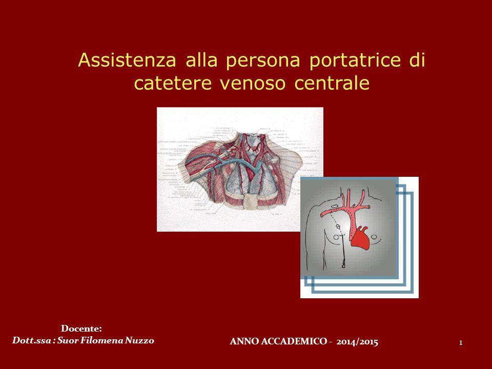 Assistenza alla persona portatrice di catetere venoso centrale 1 Docente: Dott.ssa : Suor Filomena Nuzzo ANNO ACCADEMICO - 2014/2015